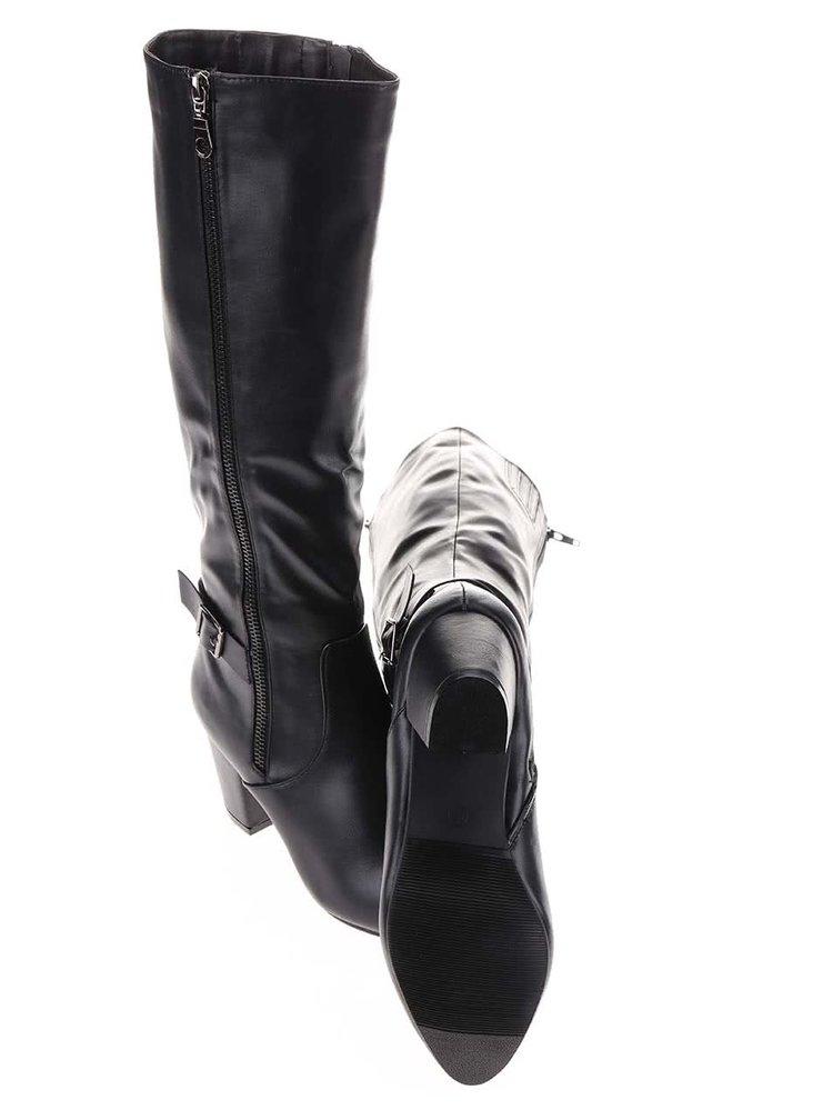 Čierne čižmy s ozdobným zipsom La Push