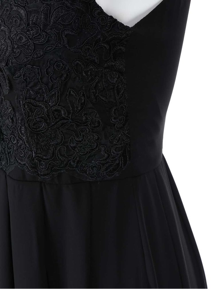 Rochie maxi cu anchior și parte de sus brodată AX PARIS - negru