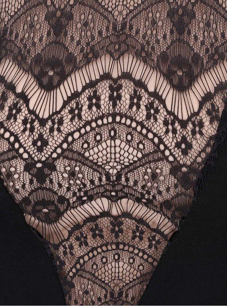 Čierne čipkované šaty so sieťovanými rukávmi AX Paris