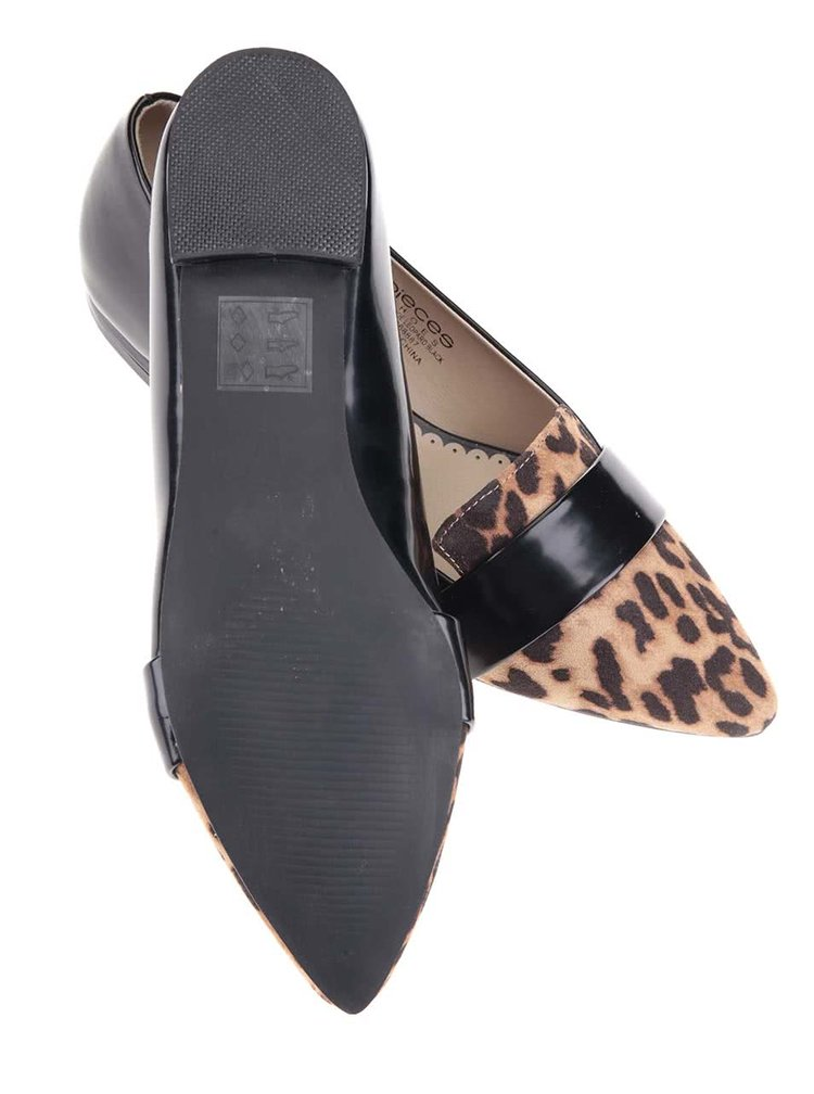 Mocasini negri cu model leopard Vani de la Pieces