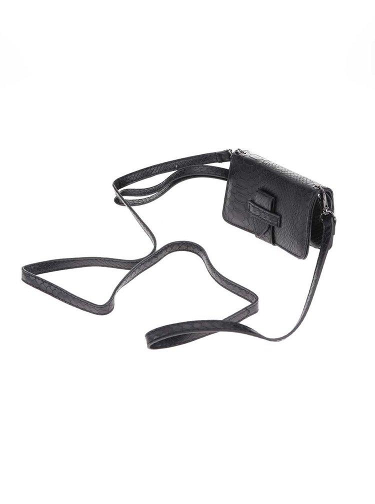 Černé pouzdro na mobil s odnímatelným popruhem Pieces
