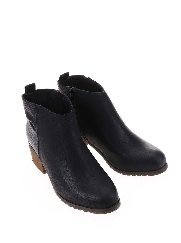 Černé kotníkové boty s hadím vzorem na patě La Push