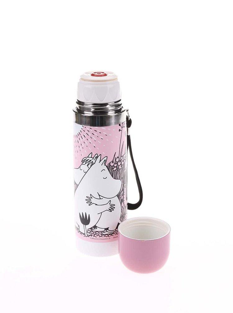 Světle růžová termoska s potiskem Disaster Moomin Love
