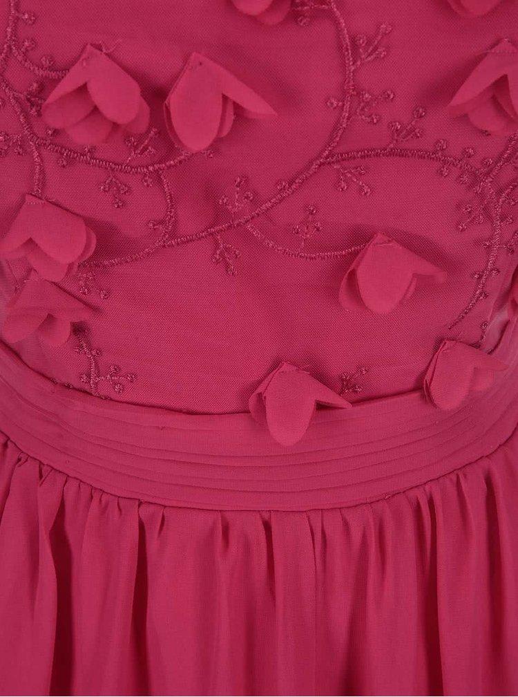 Růžové šaty s květovaným dekoltem Little Mistress