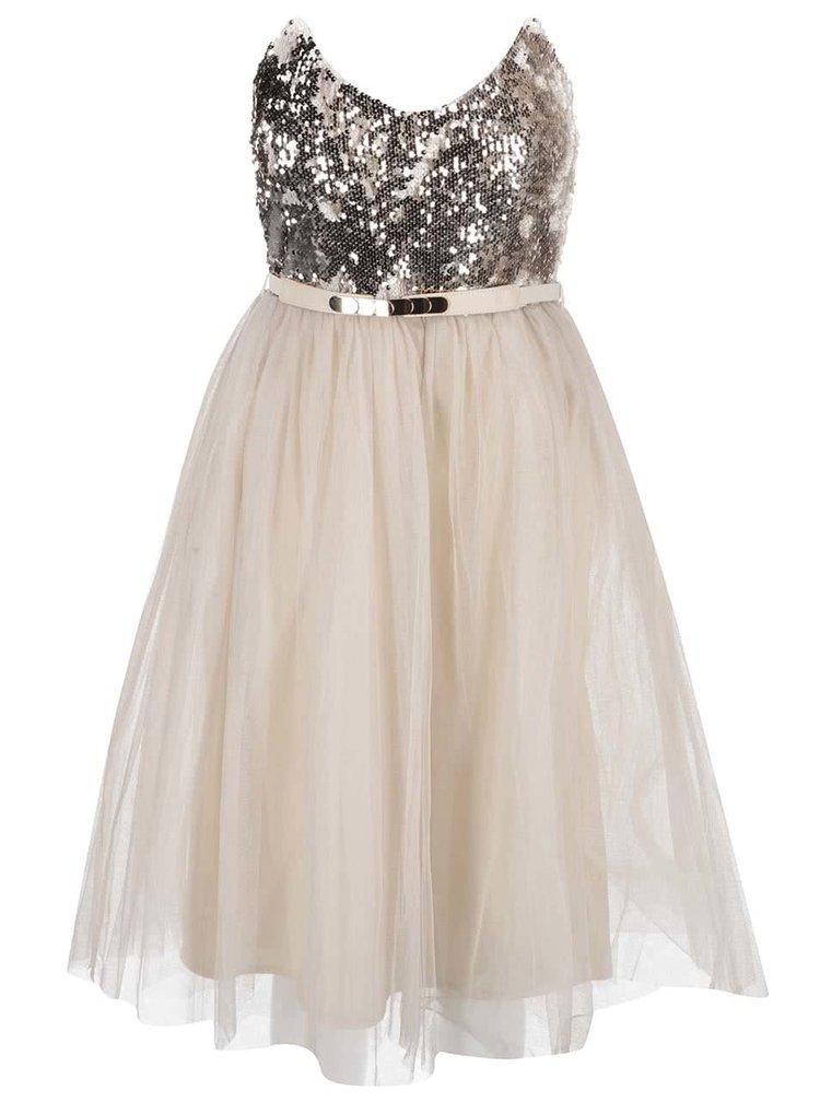 Béžové šaty s flitrovaným topem ve zlaté barve Little Mistress