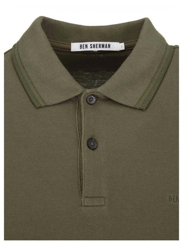 Tricoul polo cu mâneci lungi verde măsliniu de la Ben Sherman