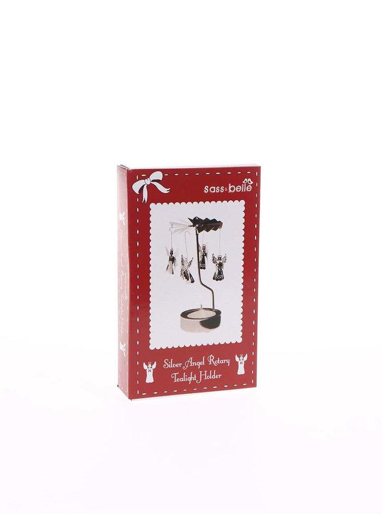 Suport de lumânare argintiu Sass & Belle din metal