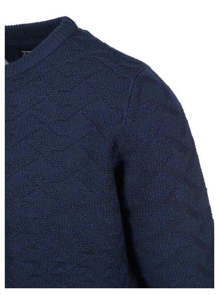 Tmavomodrý vzorovaný sveter D-Struct Osar