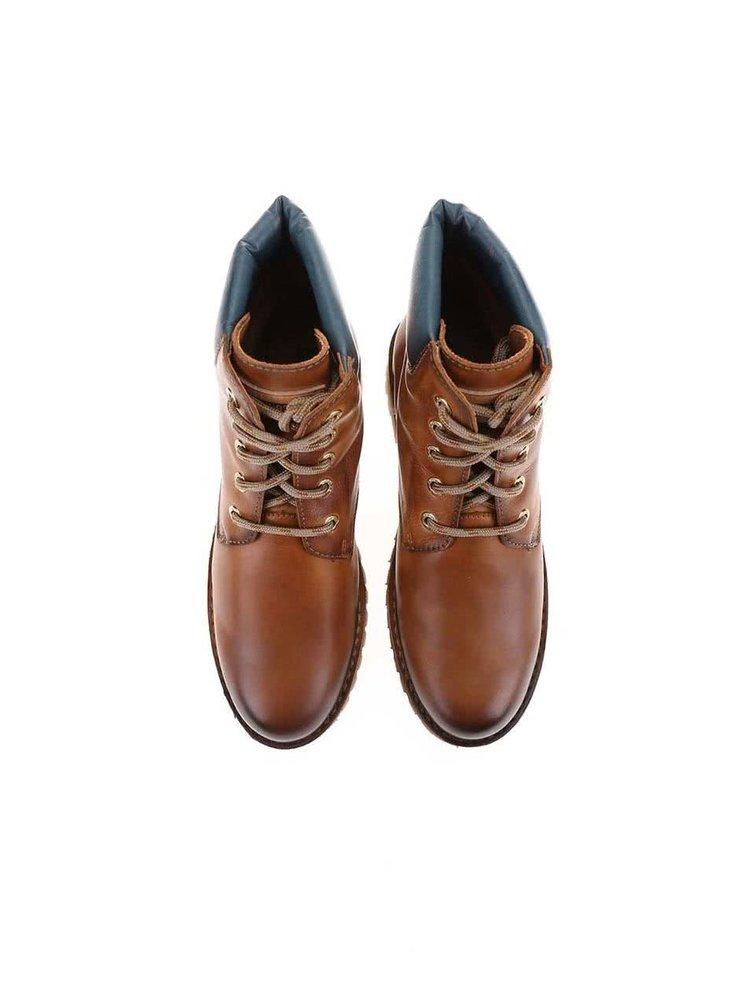 Hnědé kožené kotníkové boty na šněrování Pikolinos