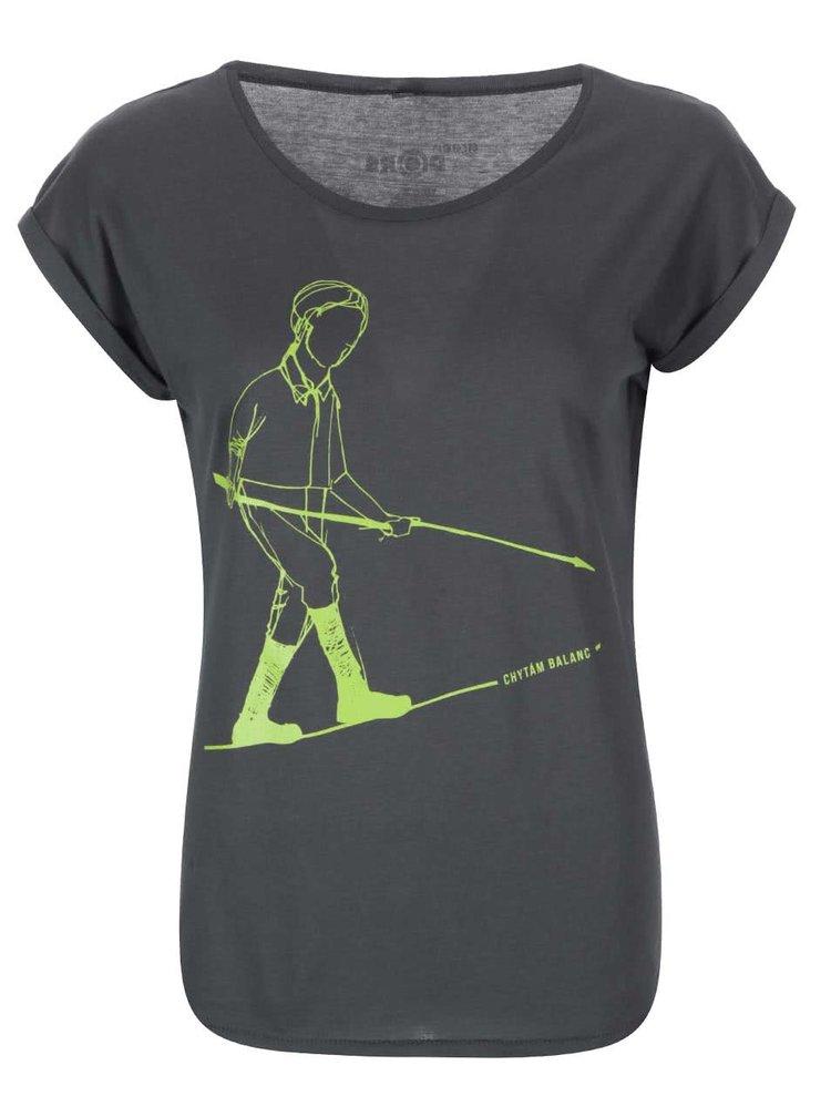 """""""Dobré"""" šedé dámské tričko s potiskem pro Green Doors"""