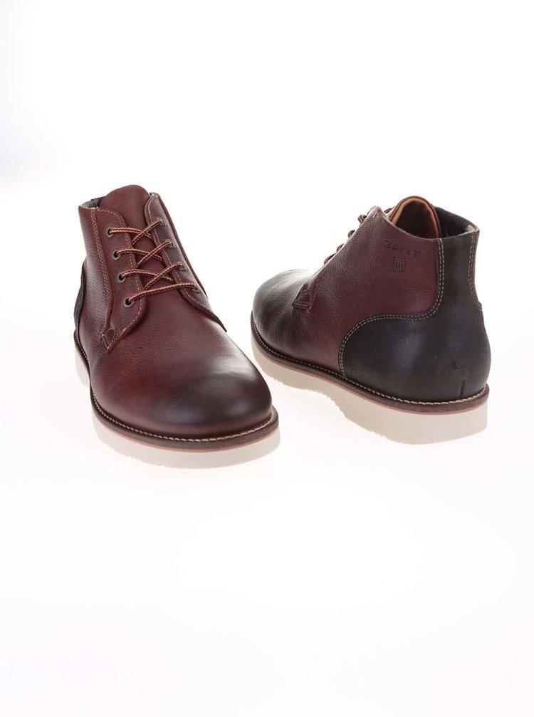 Hnědé pánské kožené kotníkové boty GANT Huck