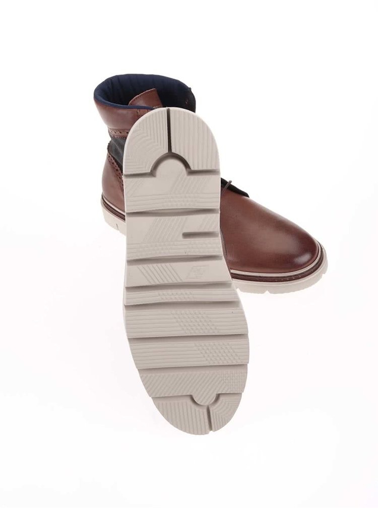Hnedé pánske kožené členkové topánky GANT Scott