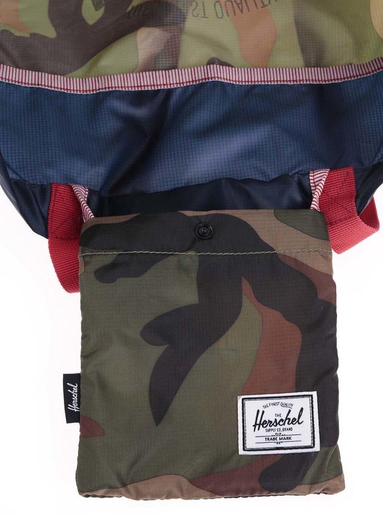Geantă cu model camuflaj Herschel Packable Travel Tote - albastru-verde
