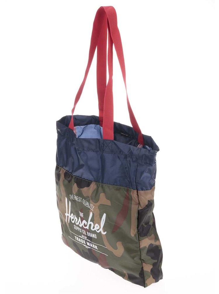 Modro-zelená maskáčová taška Herschel Packable Travel Tote