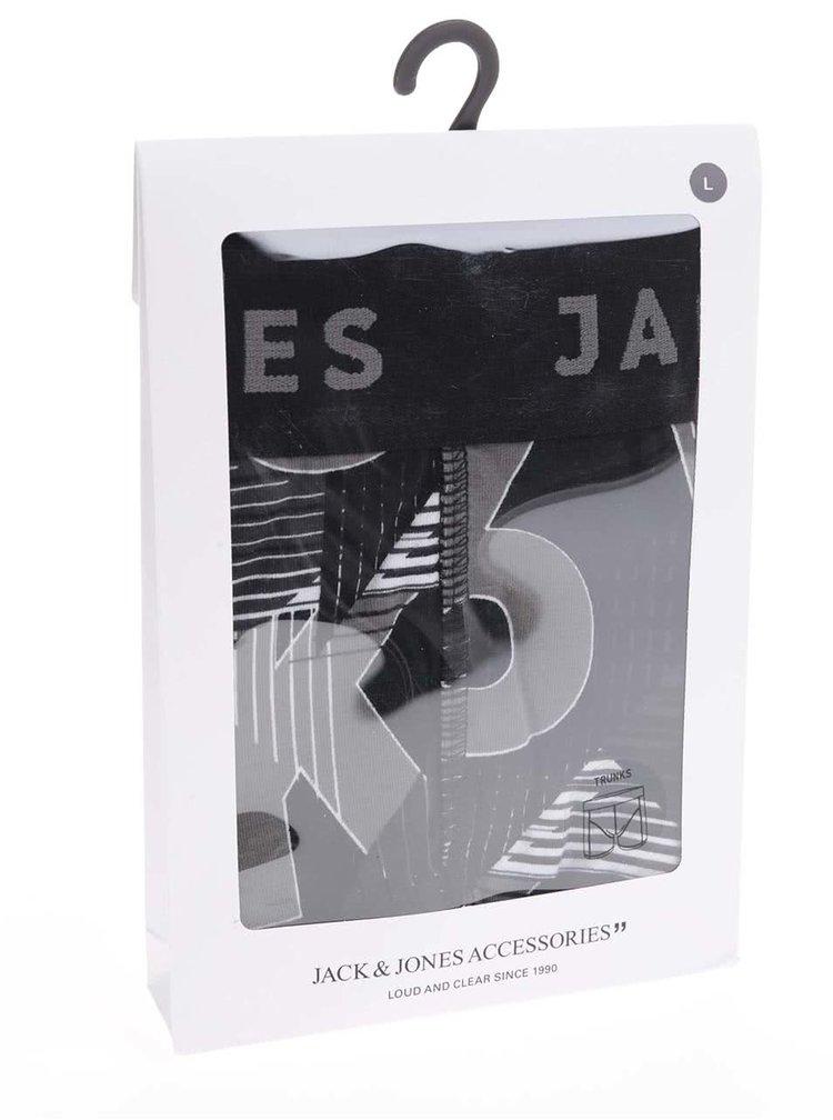 Sivo-čierne boxerky so vzorom Jack & Jones Logo