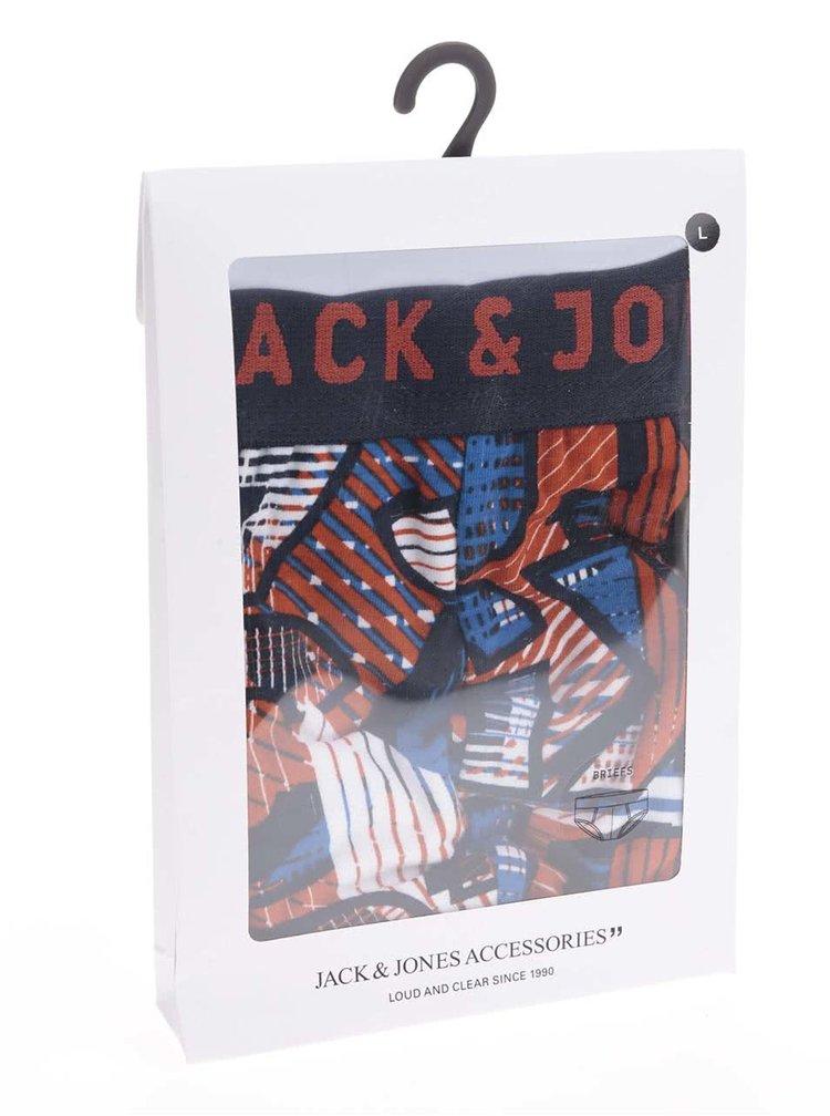 Modro-červené boxerky so vzorom Jack & Jones Logo