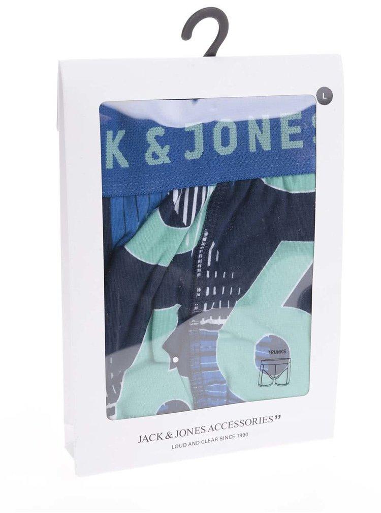 Zeleno-modré boxerky so vzorom Jack & Jones Logo