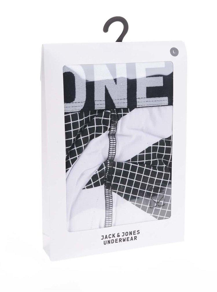 Bílo-černé boxerky se čtvercovým vzorem Jack & Jones Japanese