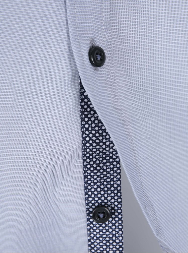 Modrošedá košile s jemným vzorem Seidensticker Modern Kent Patch