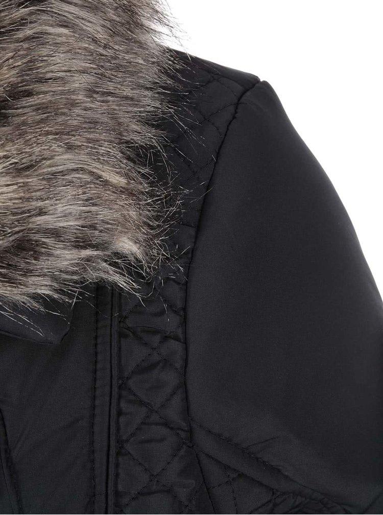 Černá dámská bunda s kožíškem Brave Soul Bordeaux