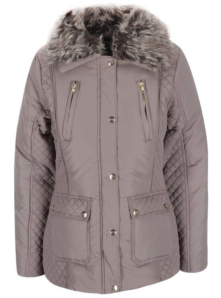 Starorůžová dámská bunda s kožíškem Brave Soul Bordeux
