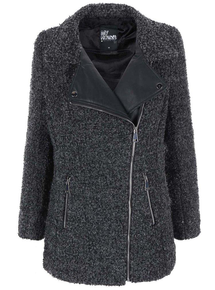 Sivý kabát s koženkovými detailmi Haily´s Teva
