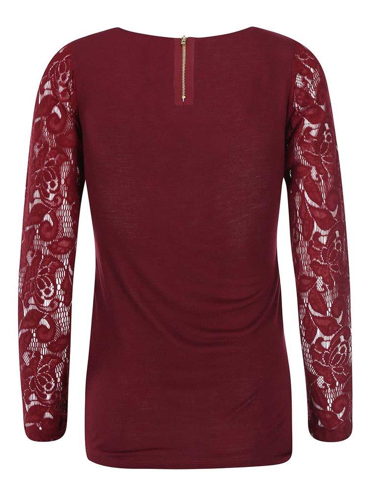 Vínové čipkované tričko s dlhým rukávom Haily´s Hazel