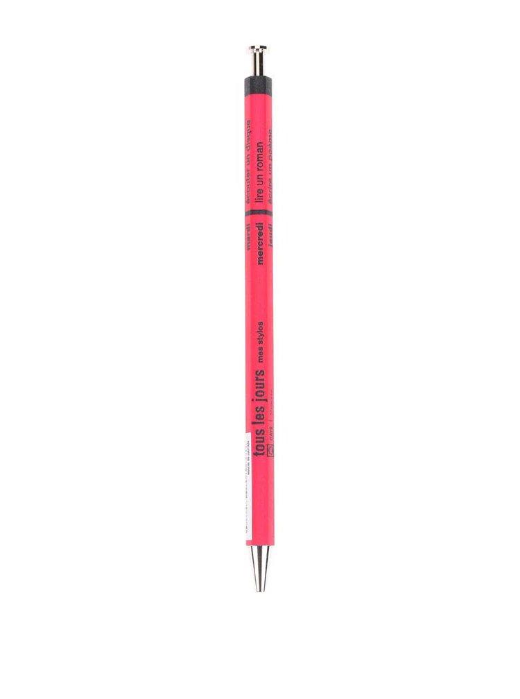 Tmavě růžové kuličkové pero s textem Mark's Days