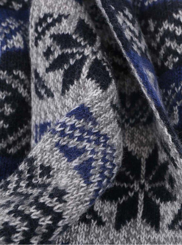 Eșarfă cu imprimeu albastru cu gri de la Selected Homme Elias