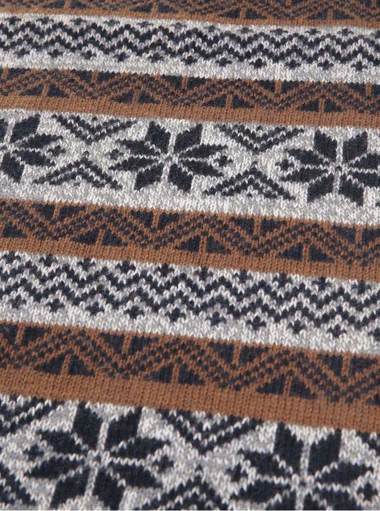 Hnedo-modrý šál s nórskymi vzormi Selected Elias
