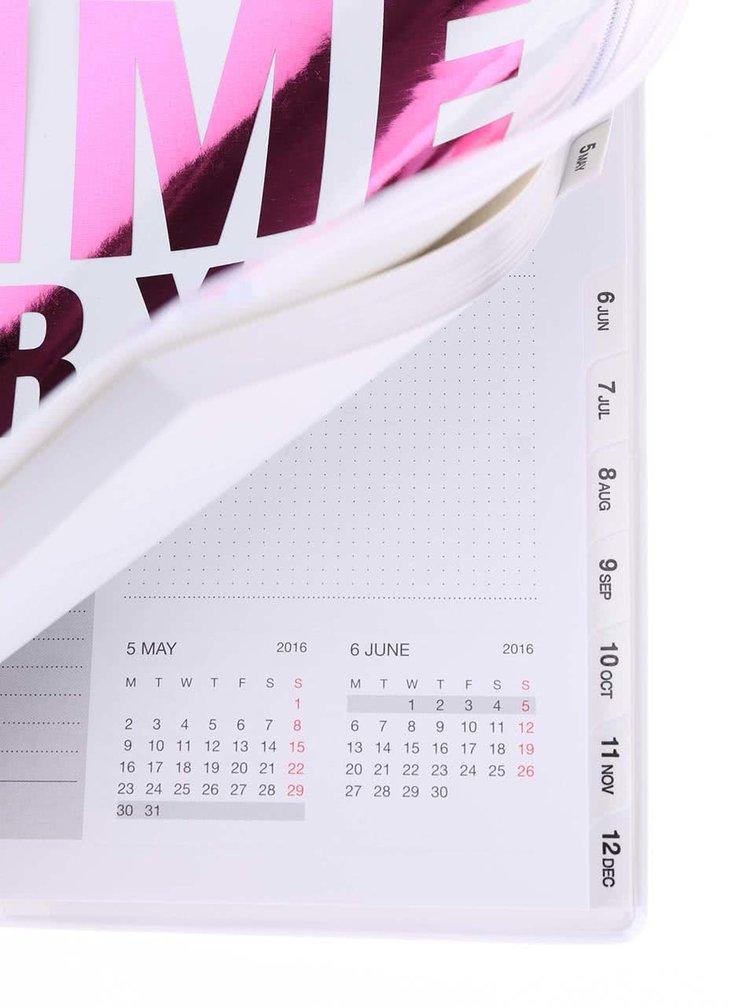 Bílý diář A5 2016 s růžovým nápisem Mark's Make Time