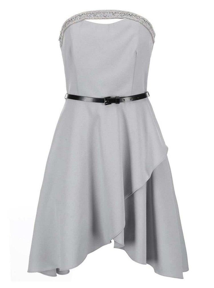 Sivé šaty s asymetrickou sukňou Little Mistress