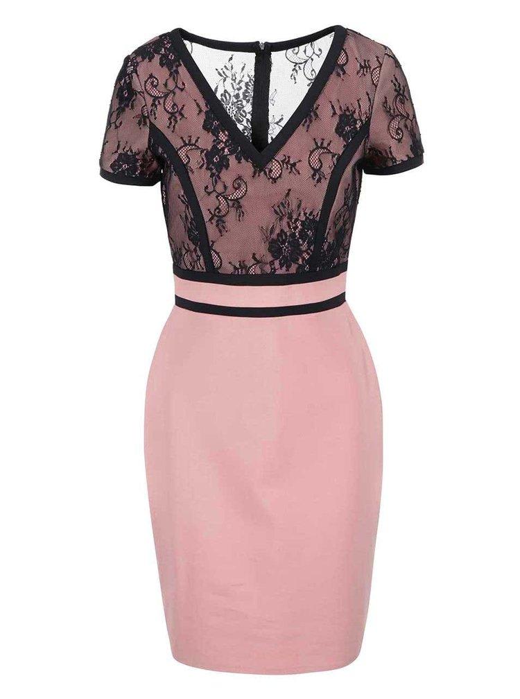 Rochie conica negru cu roz de la Paper Dolls