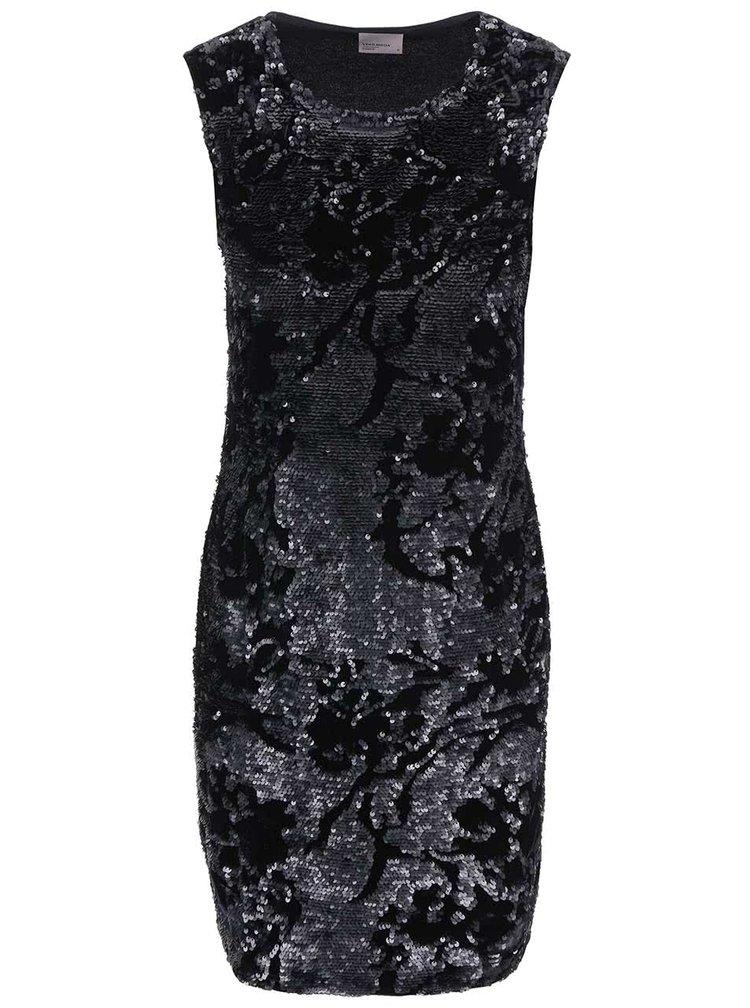 Čierne zamatové šaty s flitrami VERO MODA Moss