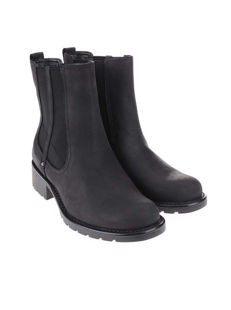 Černé dámské kožené kotníkové chelsea boty Clarks Orinoco Club