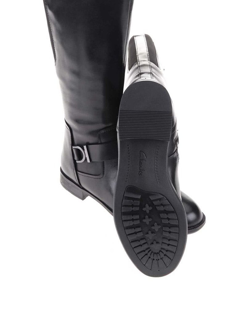 Čierne kožené čižmy s membránou GORE-TEX Clarks Mint Treat