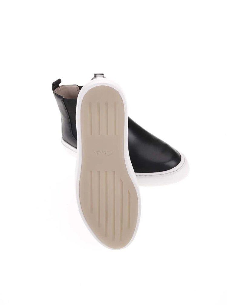 Čierne dámske kožené členkové topánky Clarks Coll Shore