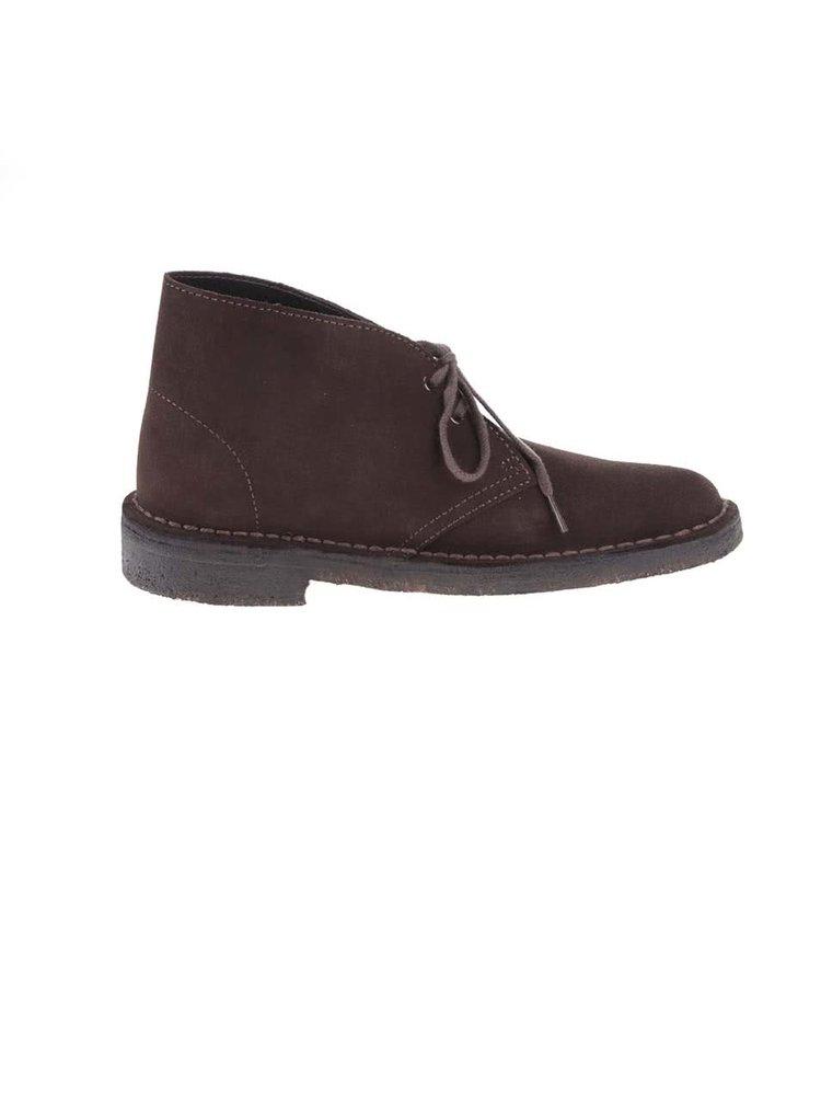 Pantofi derby de damă, din piele, până la gleznă, Clarks Desert Boot - maro