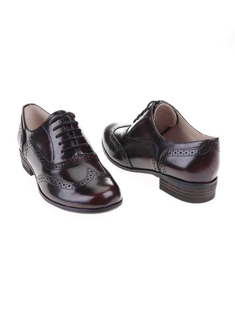 Pantofi brouge de damă, din piele, Clarks Humble Oak - vișiniu