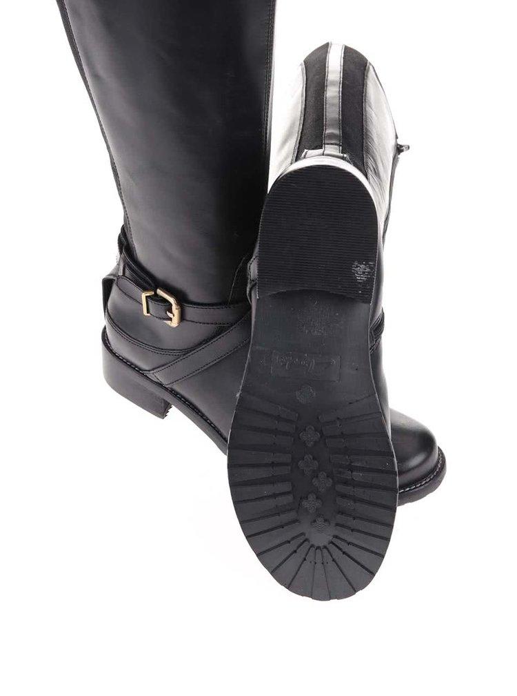 Cizme din piele cu cataramă Clarks Nessa Clare - negru