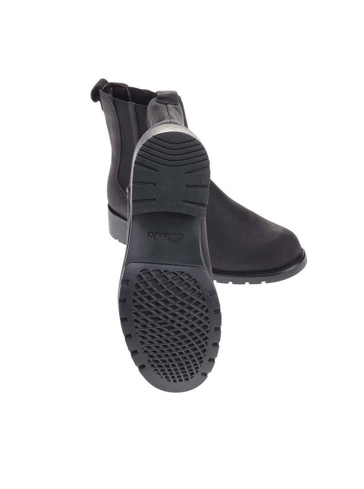 Čierne kožené členkové chelsea topánky Clarks Orinoco Hot