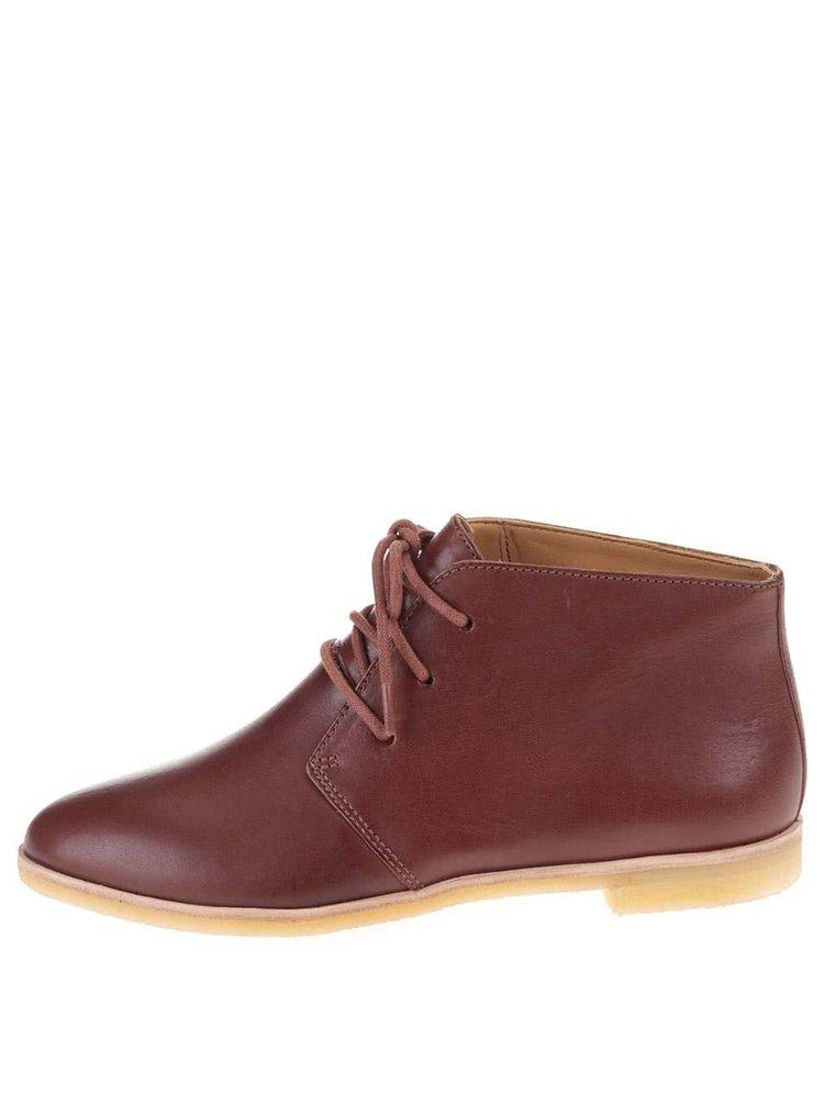 Hnedé dámske kožené členkové topánky Clarks Phenia Desert