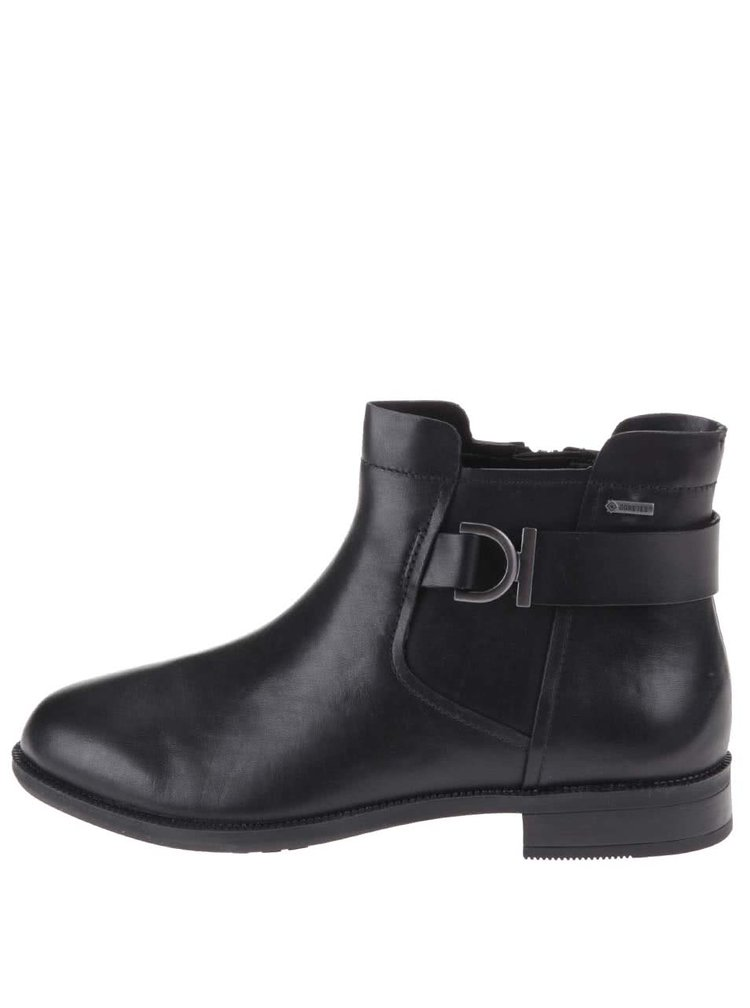 Čierne dámske kožené členkové topánky s membránou GORE-TEX Clarks Mint Jam