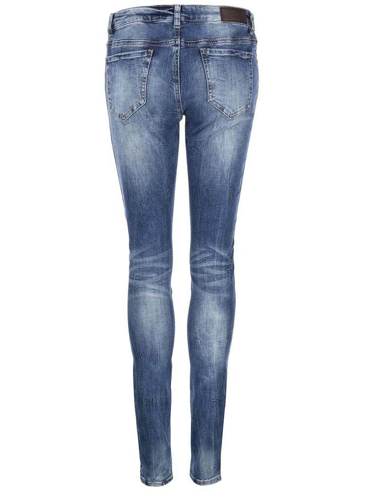 Modré slim džíny s ozdobnými zipy VERO MODA Five