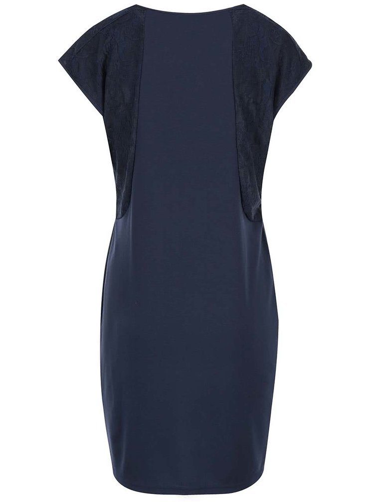 Tmavomodré šaty s čipkovým detailom VERO MODA Julia