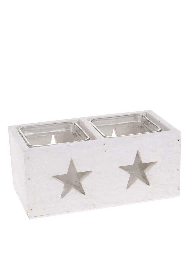 Suport Dakls dublu pentru lumanari, din lemn, cu stele - alb
