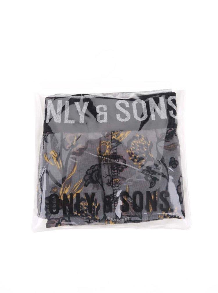 Boxeri gri cu imprimeu de la ONLY & SONS Sam