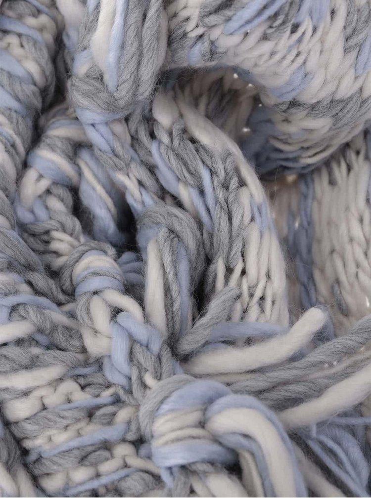 Krémovo-modrý šál so strapcami s.Oliver