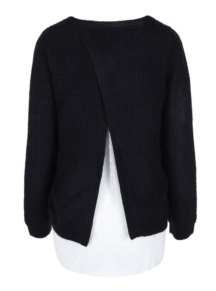 Pulover de damă bleumarin cu bluză albă cusută de la s.Oliver