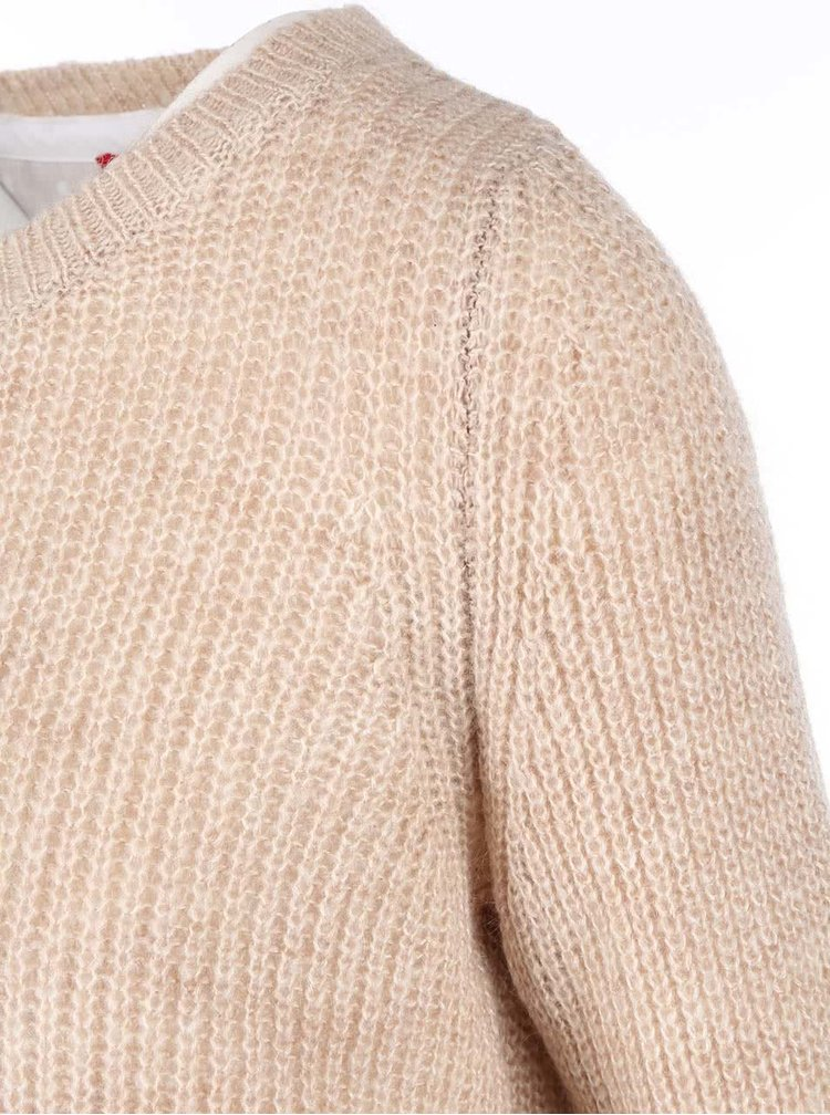 Pulover de dama bej cu bluza plisata alba cusuta de la s.Oliver